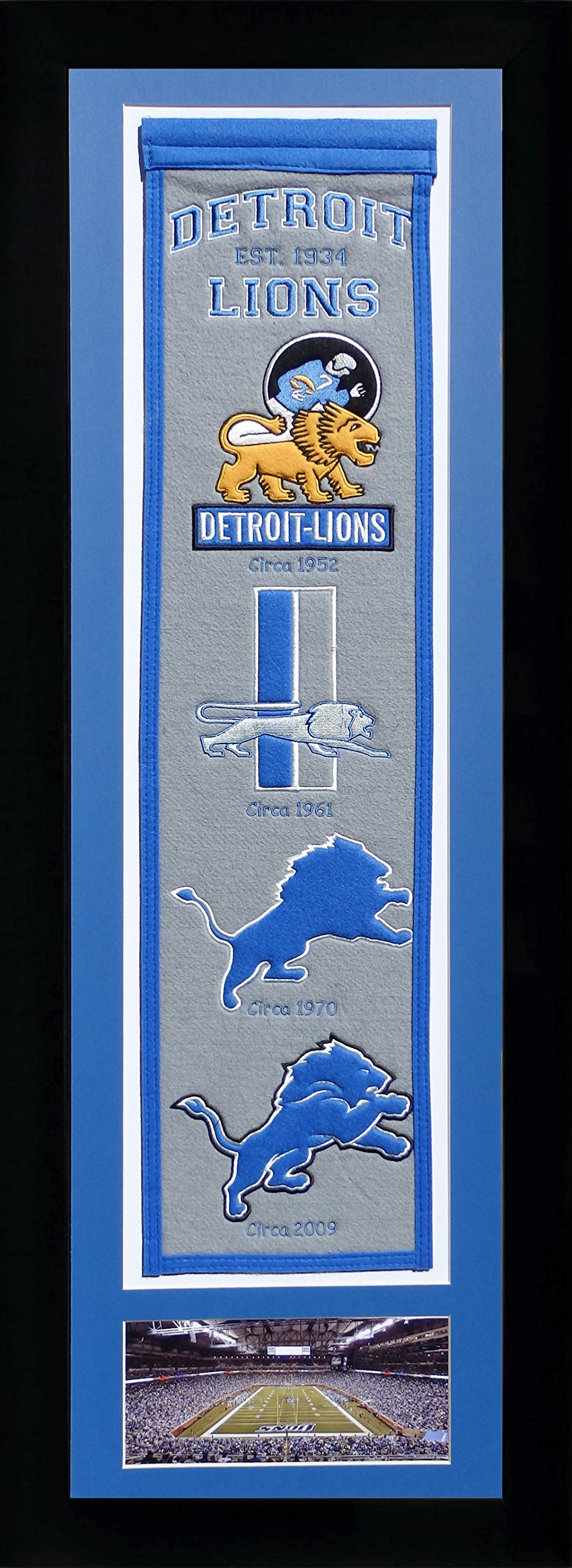 NFL Detroit Lions Legends Never Die Team Heritage Banner with Photo, Team Colors, 15'' x 42'' by Legends Never Die
