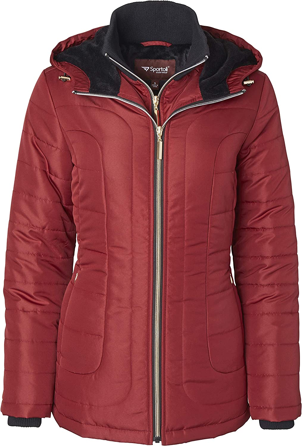 Womens Down Alternative Quilted Midlength Vestee Puffer Jacket Plush Lined Hood