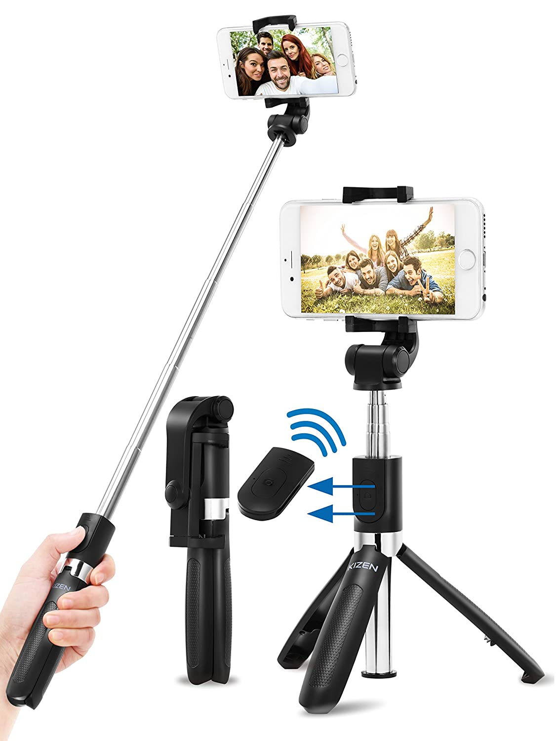 Kizen Selfie Stick Monopod with Integrated Tripod and Wireless Remote Shutter. Extendable Wireless Selfie Stick. for Apple iPhone 6,7,8,X & Plus, Samsung Galaxy S6,S7,S8, Android