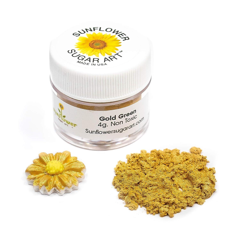 Gold Green Edible Luster Dust | Edible Powder & Dust | Food Grade Luster Dust for Decorating, Fondant, Baking | Polvo Matizador | Cakes, Vegan Paint, & Dust | Sunflower Sugar Art