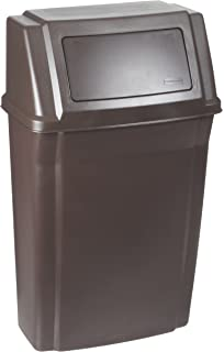 rubbermaid commercial wall mount trash can 15 gallon brown fg782200brn
