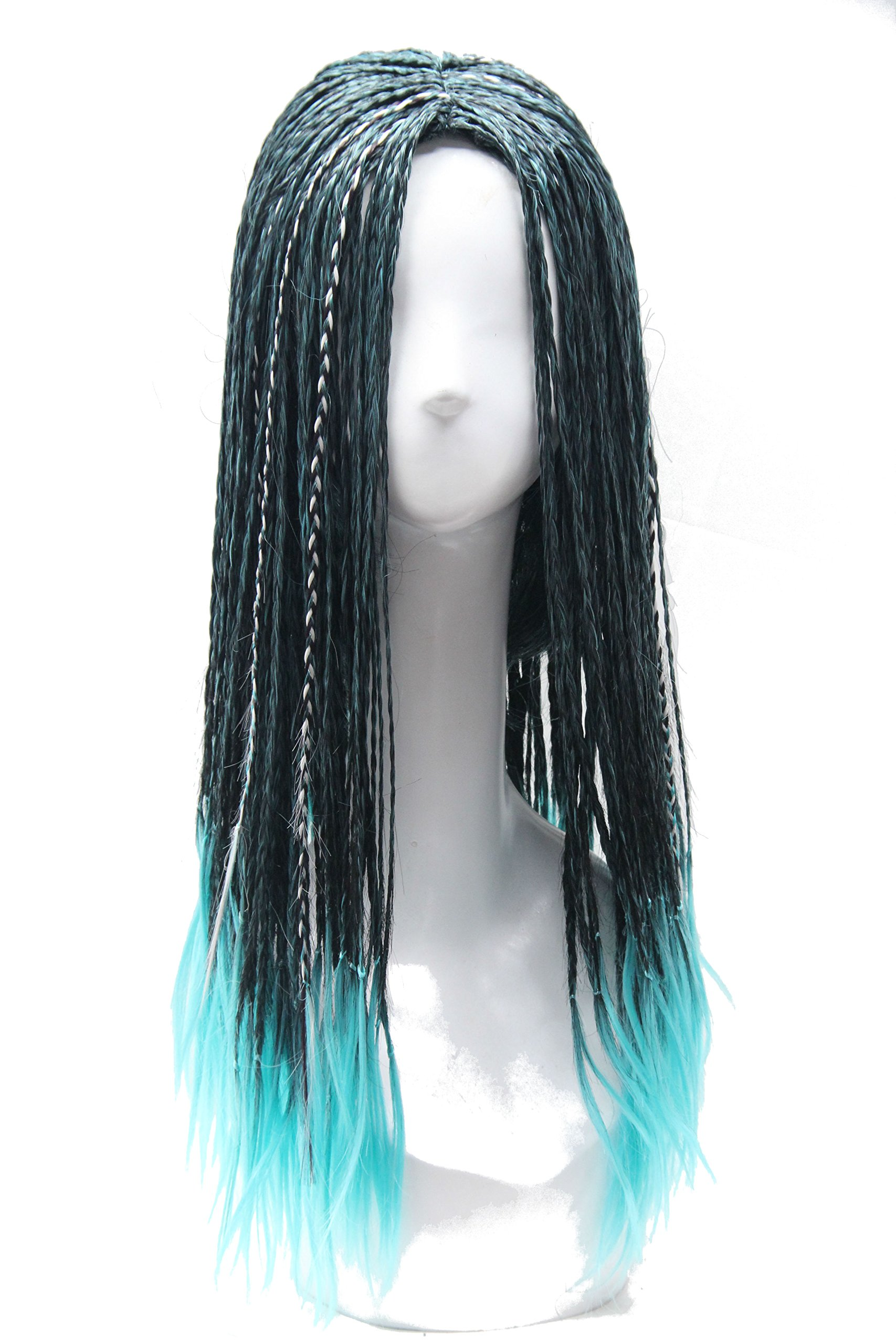 Soul Wigs:Halloween Wig Long Braided Cosplay Wig Black and Blue Ombre wig for kids