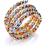 Jewelco London White, Yellow and Rose Gold-Plated Sterling Silver Fancy Eternity Ring
