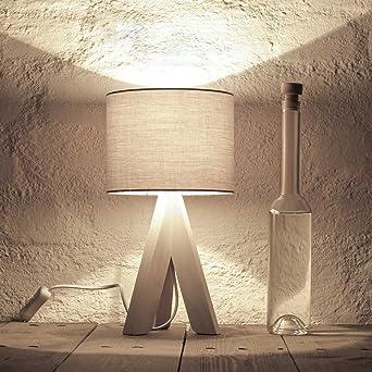 Bauhaus Stil Tischleuchte mit Holzfuß und grauem Stoffschirm E14 mit ...