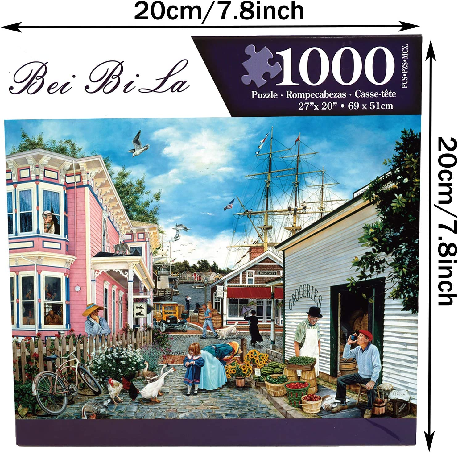 1000 Piece Jigsaw Puzzle,Wharf Town Lager Puzzle for Adults Kids