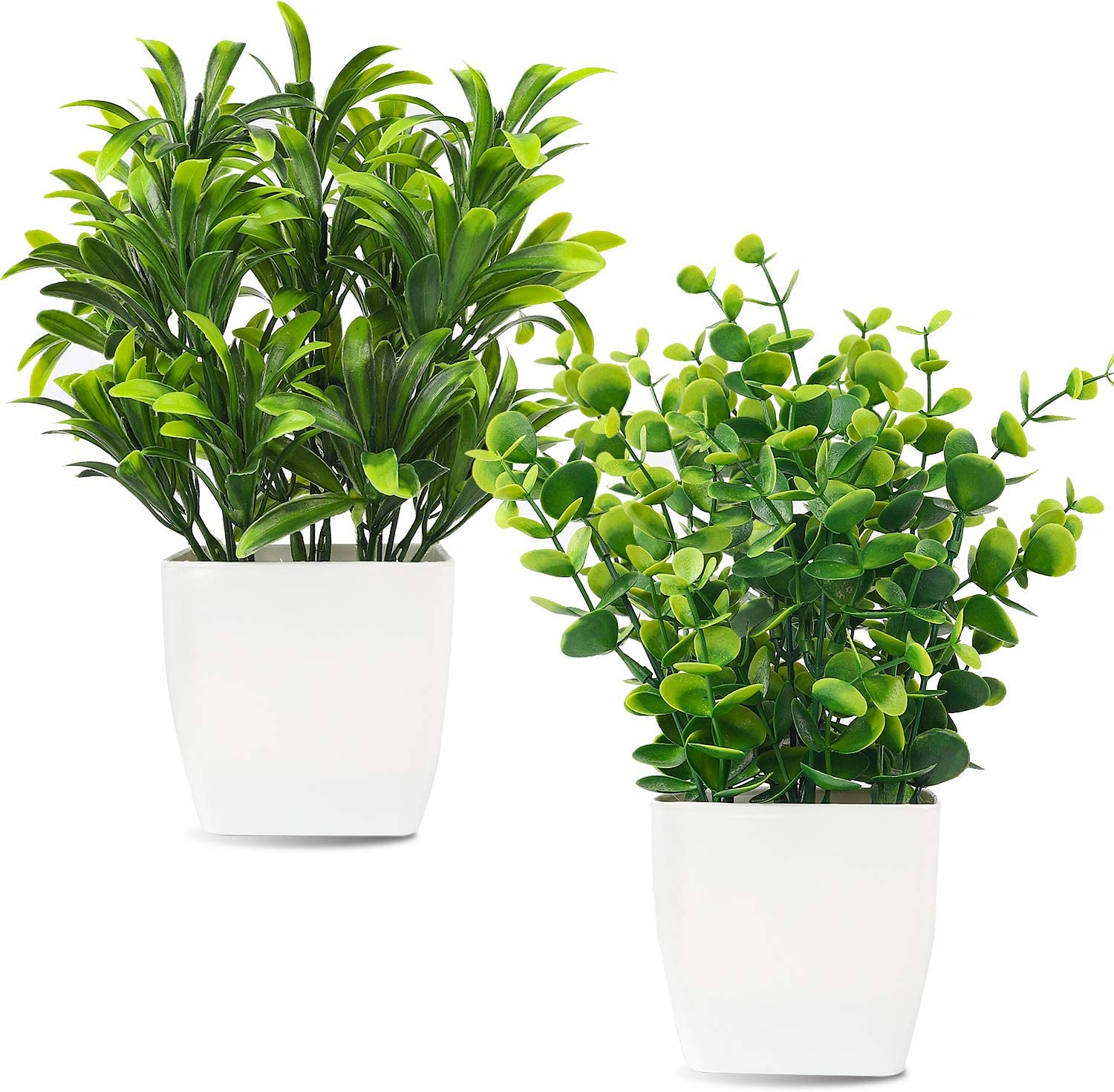 Whonline 2pcs Artificial Mini Potted Plants Fake Plastic Eucalyptus Leaves Plants for Home Office Desk Room Greenery Decoration
