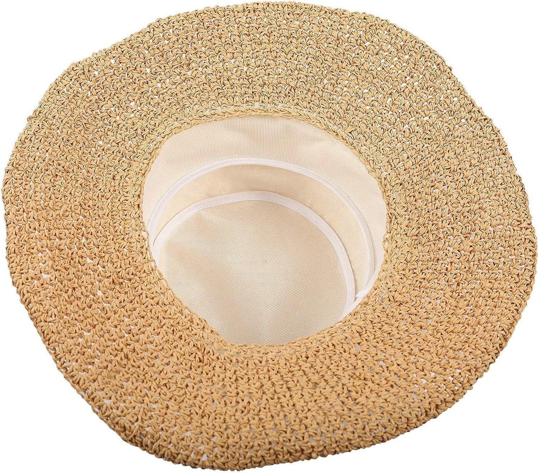 Bishilin Women Wide Brim Sun Hats Summer Beach Cap Hand-Woven Sun Protection Hats