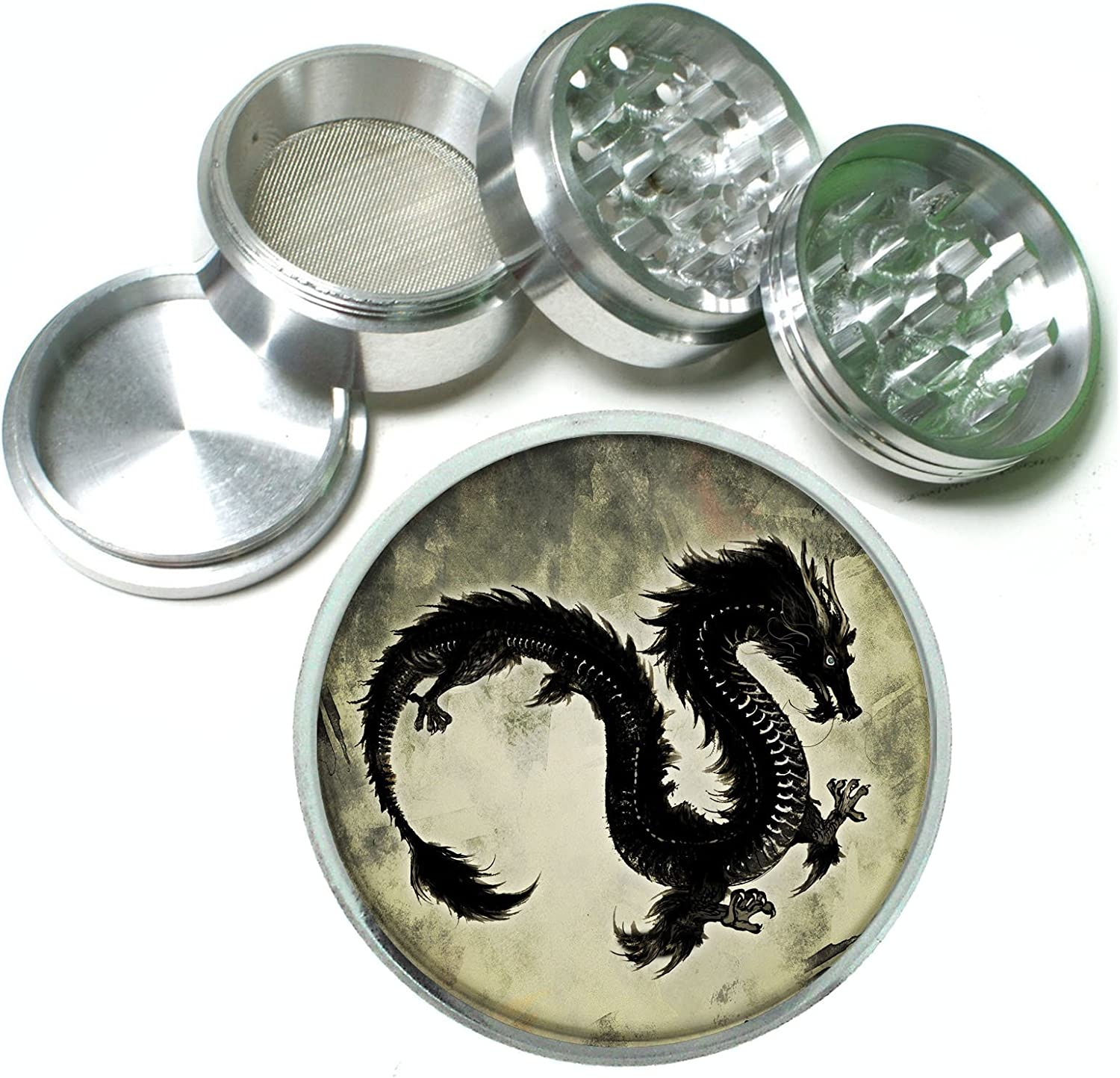 Chinese Dragon Aluminum Tobacco Spice Herb Grinder