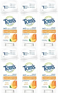product image for Tom's of Maine Natural Deodorant Stick, Apricot, 2.25 Ounce Stick, Pack of 6