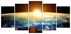 Pyradecor The Earth Canvas Prints Wall Art Outer Space Pictures Paintings Ready to Hang for Living Room Bedroom Home Decorations 5 Panels Modern Stretched and Framed Universe Landscape Giclee Artwork