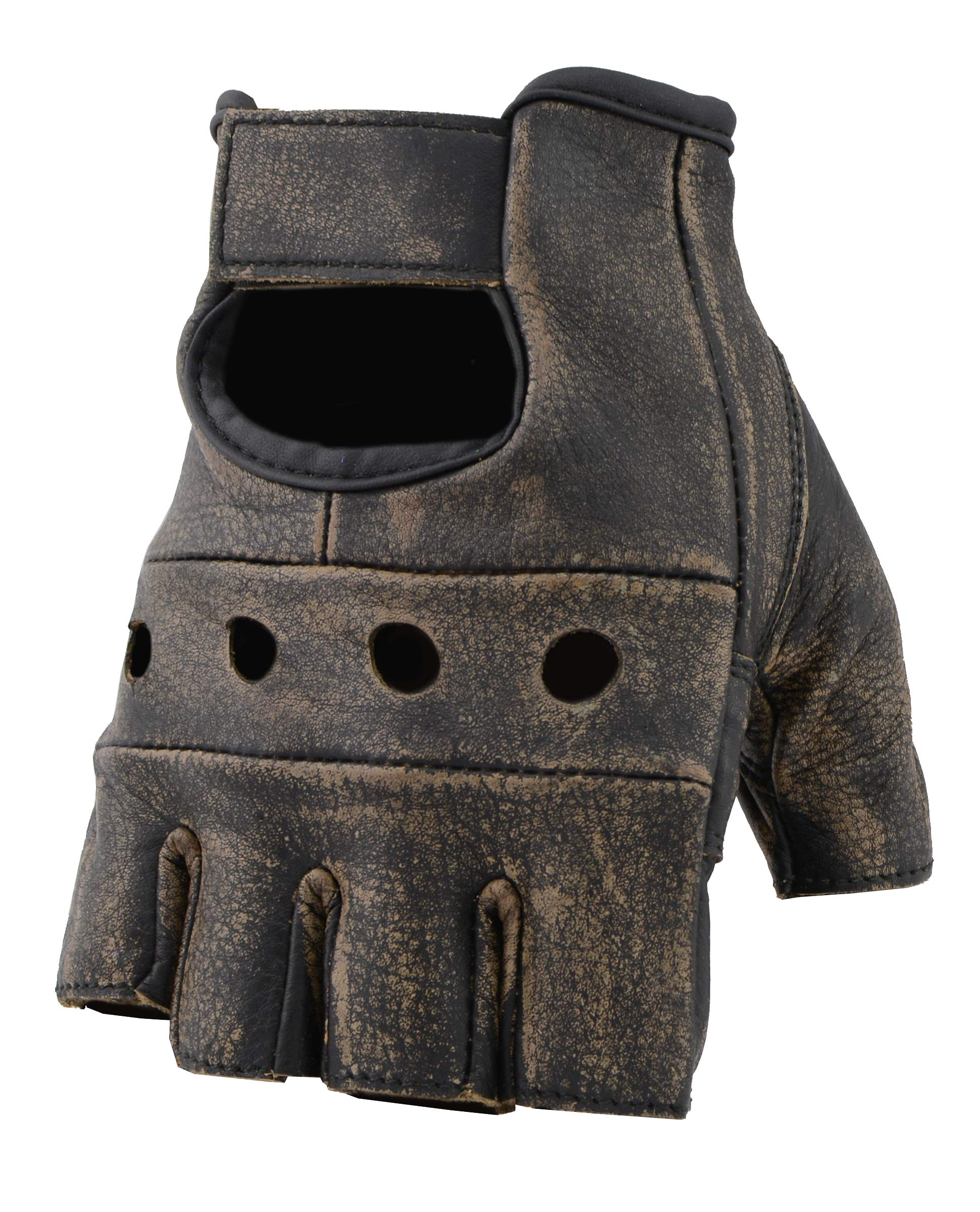 The Bikers Zone Women's Leather Fingerless Gloves, Soft Lambskin Leather (Distressed Brown, S)