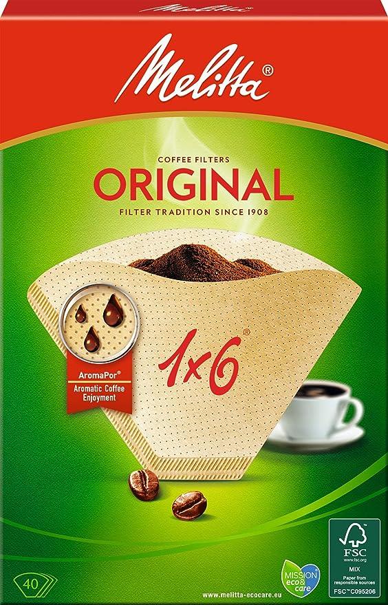 Melitta, 40 Filtros de café, Tamaño 1x6, Para cafeteras de filtro ...