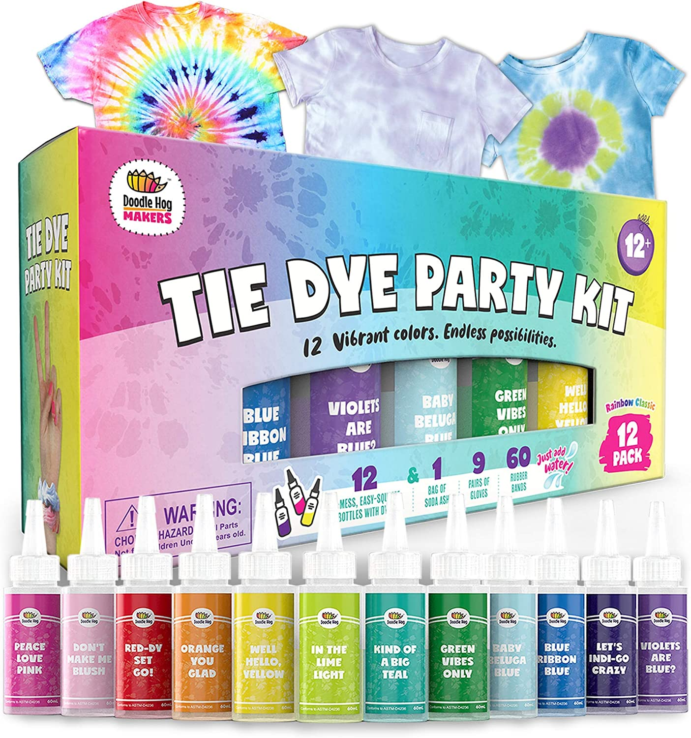 Doodlehog Easy Tie Dye Party Kit for Kids, Adults, and Groups. Create Vibrant Designs with Non-Toxic Dye. 12 Colors Included! Beginner-Friendly: Just Add Water! Dye up to 10 Medium Kids T-Shirts!: Arts, Crafts & Sewing