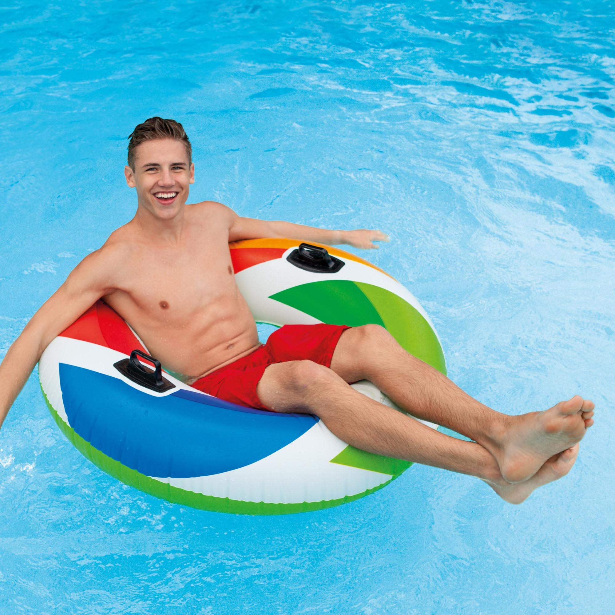 Intex Inflatable 47'' Color Whirl Tube Swimming Pool Raft with Handles (8 Pack) by Intex (Image #6)