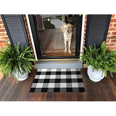Ukeler Retro Farmhouse Doormat 2×3- Cotton Buffalo Plaid Rugs Tartan Checkered Layered Door Mats Outdoor Hand-Woven Washable Rag Throw Rugs for Front Porch/Kitchen/Sink/Bathroom/Entry Way