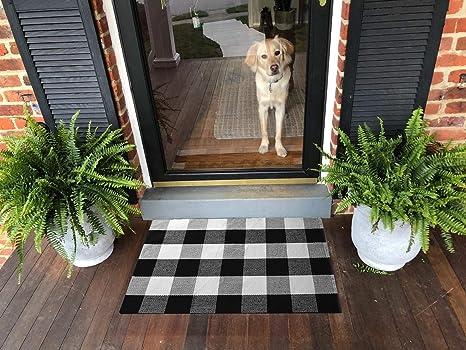 Ukeler Retro Farmhouse Doormat 2×3- Cotton Buffalo Plaid Rugs Tartan  Checkered Layered Door Mats Outdoor Hand-Woven Washable Rag Throw Rugs for  Front ...