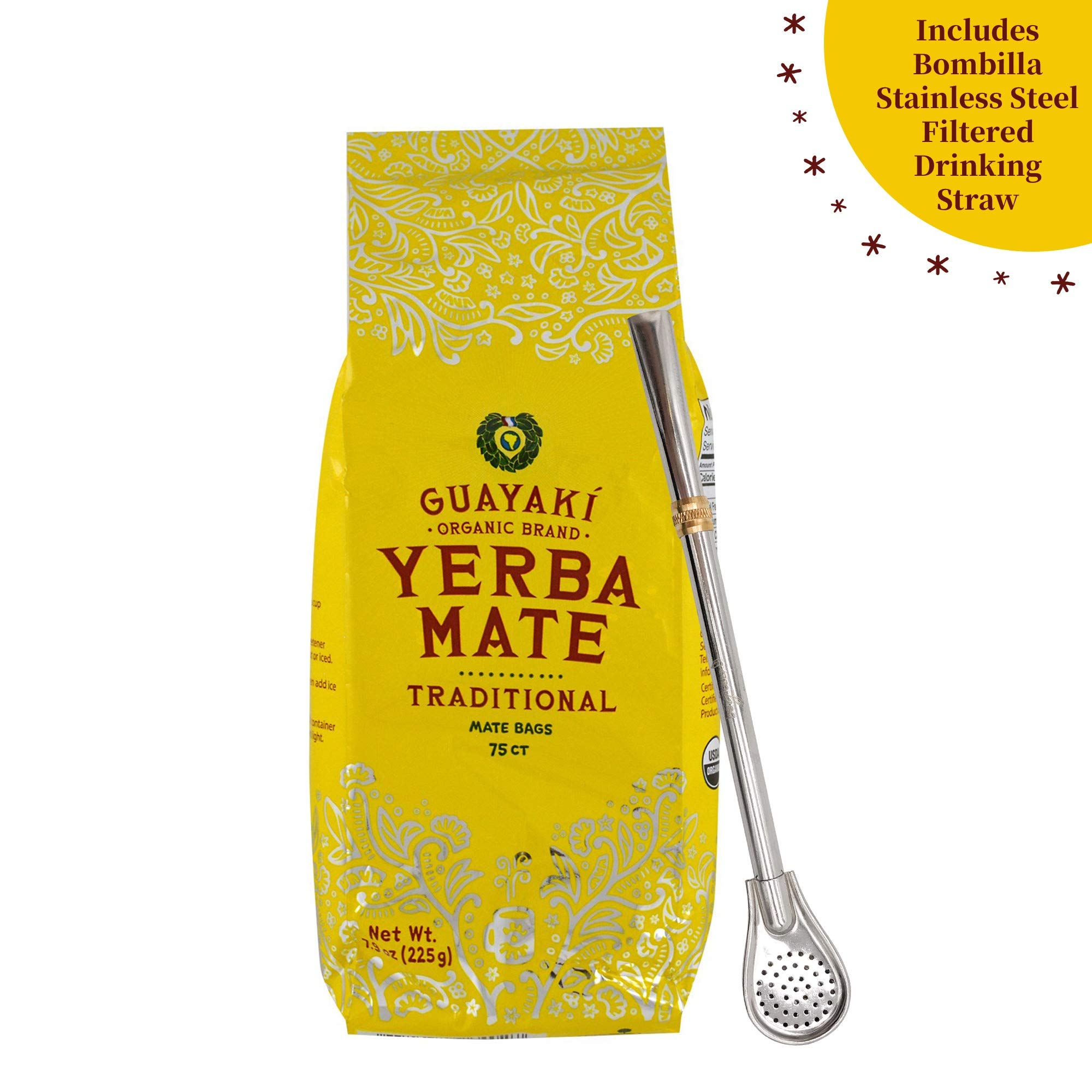 Guayaki Yerba Mate Traditional Organic Mate Tea - 7.9 oz, 75 Tea Bags - Rich in Antioxidants, Nutrients - Includes Bonus beGreen Bombilla Stainless Steel Filtered Drinking Straw