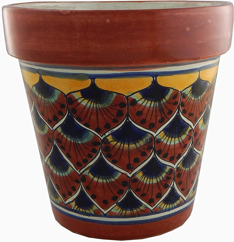 Mexican Talavera Planter Ceramic Flower Pot Folk Art Pottery Garden Handmade # 36