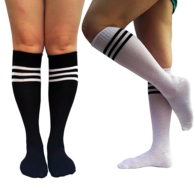 cc655aff1 ELLITE Women Triple Stripe White Black Tube Knee High Socks at ...