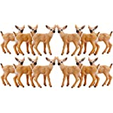 RESTCLOUD Miniature Baby Deer Toy Figurines, Set of 12 White-Tailed Fawn Figures