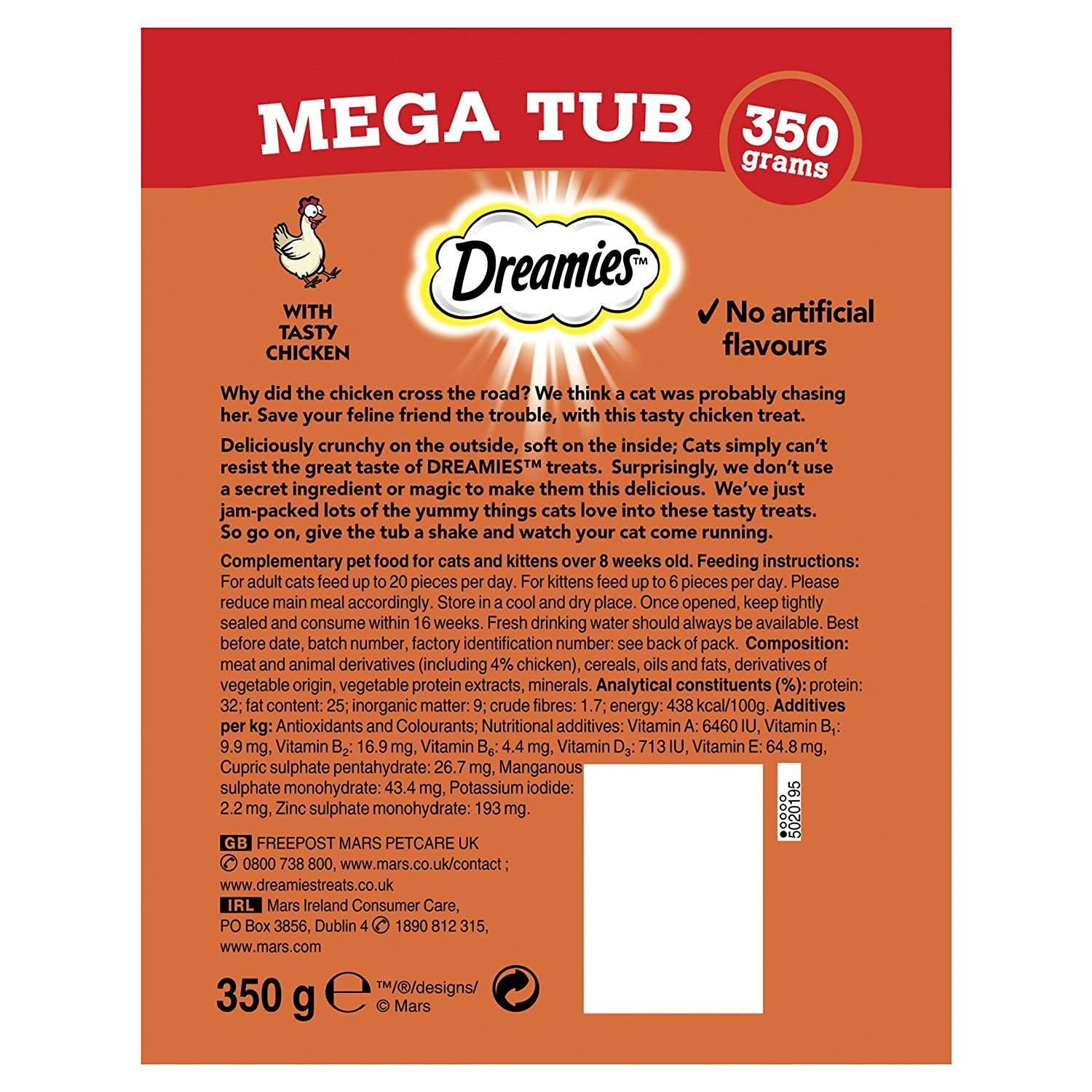 2 Dreamies 350g Mega Tub Cat Treats with 1 Cheese, 1 Chicken, HEALTHSTYLE EMPORIUM
