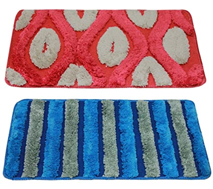 Story@Home Door Mat Combo Set of 2, Diana Premium Cotton Blend Series, Soft, Anti Slip and Water Absorbing (Machine Washable) - Red and Blue