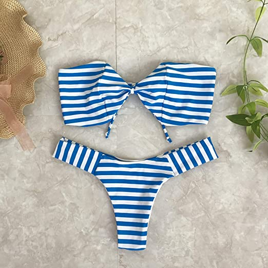 Wghz Bikini de Rayas Azules sin Corbata T-Pants en Trajes de baño ...
