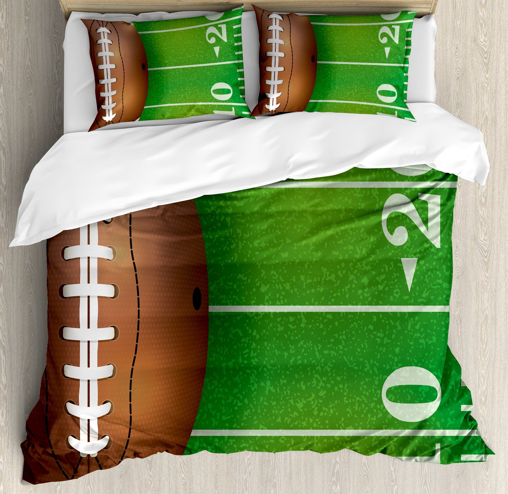 Boy's Room Duvet Cover Set Queen Size by Lunarable, American Football Field and Ball Realistic Vivid Illustration College, Decorative 3 Piece Bedding Set with 2 Pillow Shams, Green Brown White