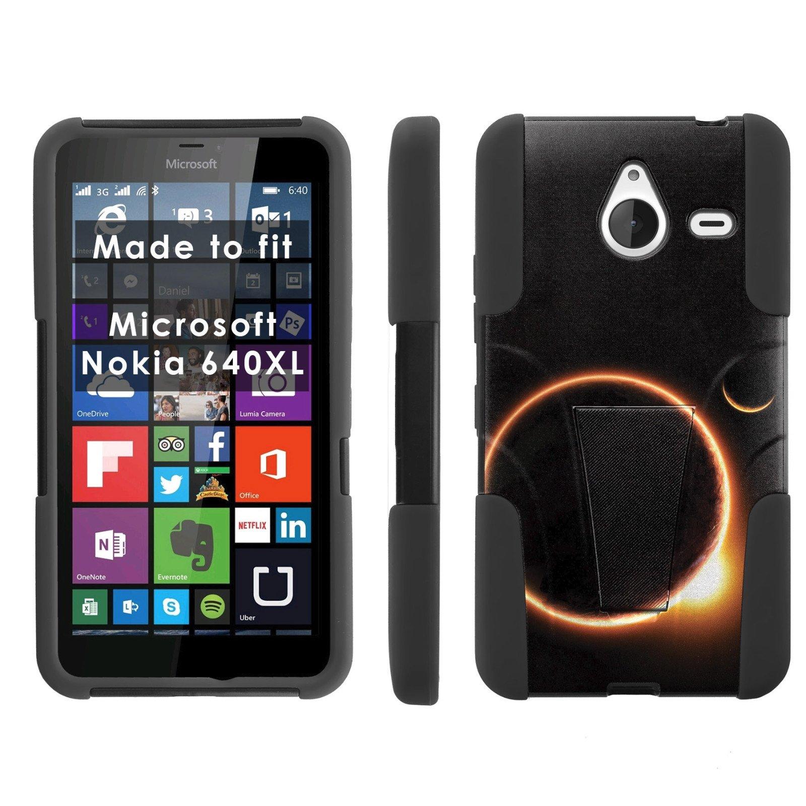 Mobiflare Armor Kick Flip Grip Case for [Microsoft Nokia Lumia 640 XL] - Solar Eclipse