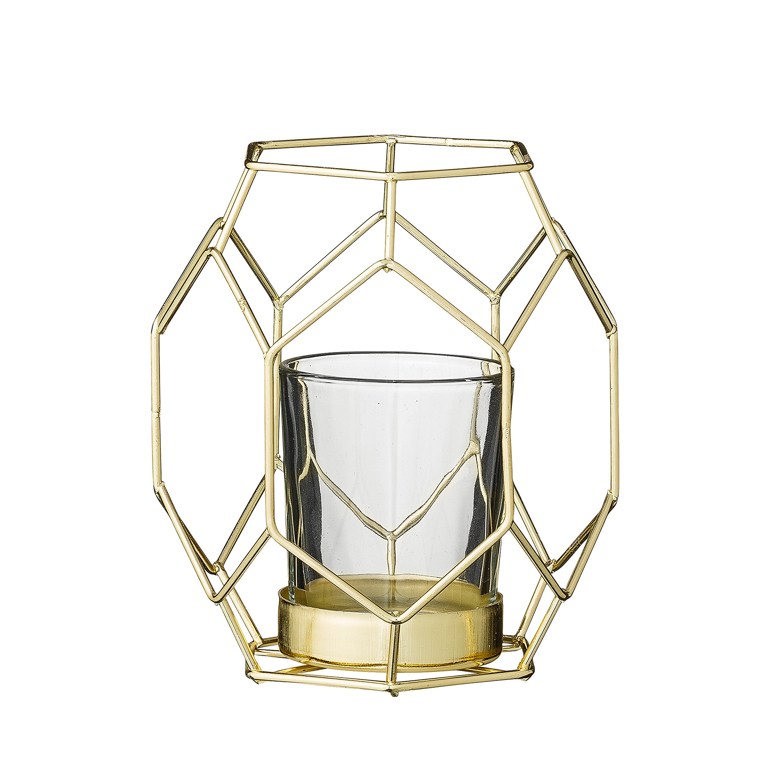 Bloomingville A27400058 Small Gold Metal Geometric Votive Holder with Glass Insert