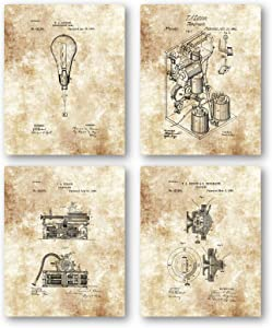 Original Thomas Edison Drawings Artwork - Set of 4 8 x 10 Unframed Patent Prints - Great Gift for Electricians, Engineers or Inventors - Vintage Office Decor - Mancave Art