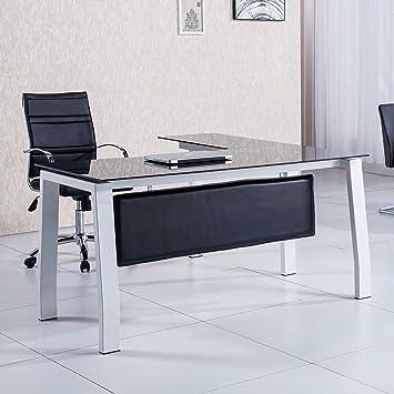 Mesa de despacho 150 cm modelo BLAKE con estructura metálica y cristal templado color negro - Sedutahome: Amazon.es: Hogar