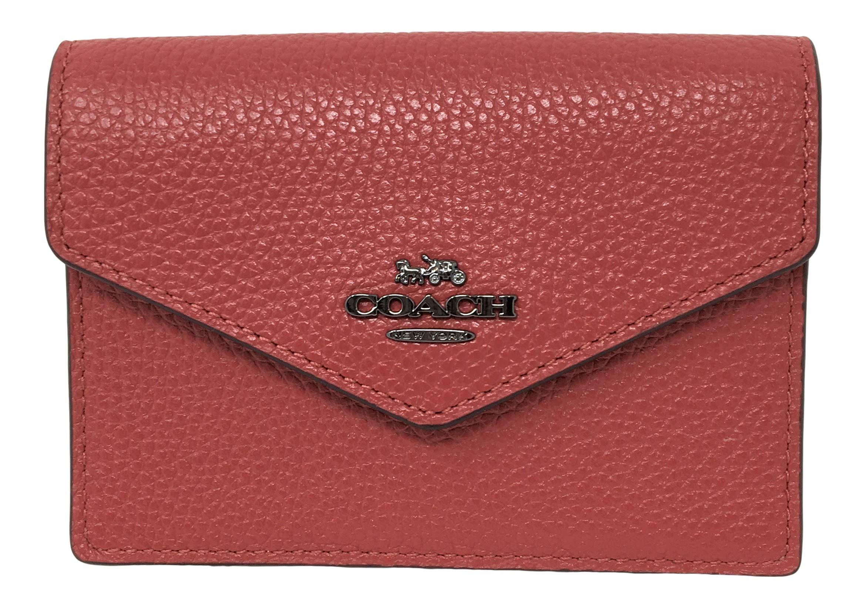 Coach Polished Pebbled Envelope Card Case Washed Red F68395