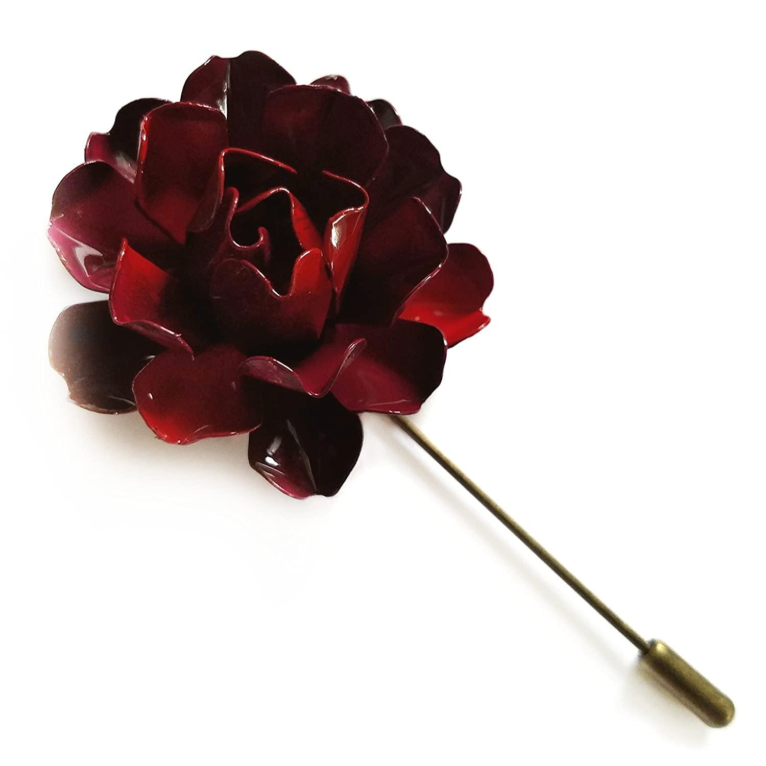 Red Metal Lapel Flower Pin