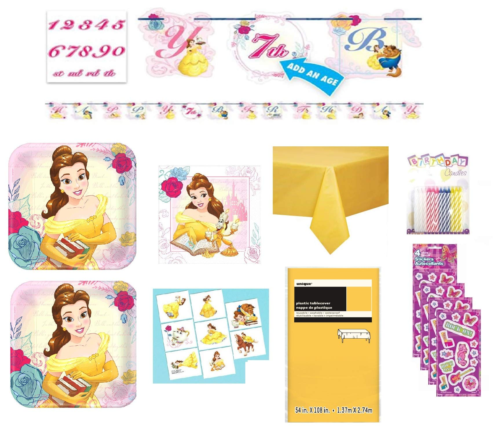 Beauty and the Beast Birthday Party Supply Bundle for 16 includes Plates, Napkins, Table Cover, Tattoos, Stickers, Candles