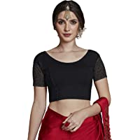 crazy bachat Women's Readymade Indian Designer Black Color Stretchable Blouse for Saree Crop Top
