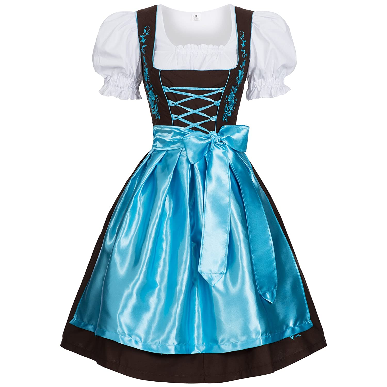 Women's German Dirndl Dress Costumes for Bavarian Oktoberfest Carnival Halloween GL2870DKleidHB-44