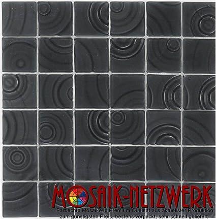 Carrelage mosaïque en verre Noir mat mural sol douche Tapis ...