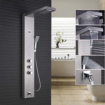 Rozin Thermostatic Rainfall Waterfall Shower Panel Rain Massage System  Faucet With Jets U0026 Hand Shower Brushed