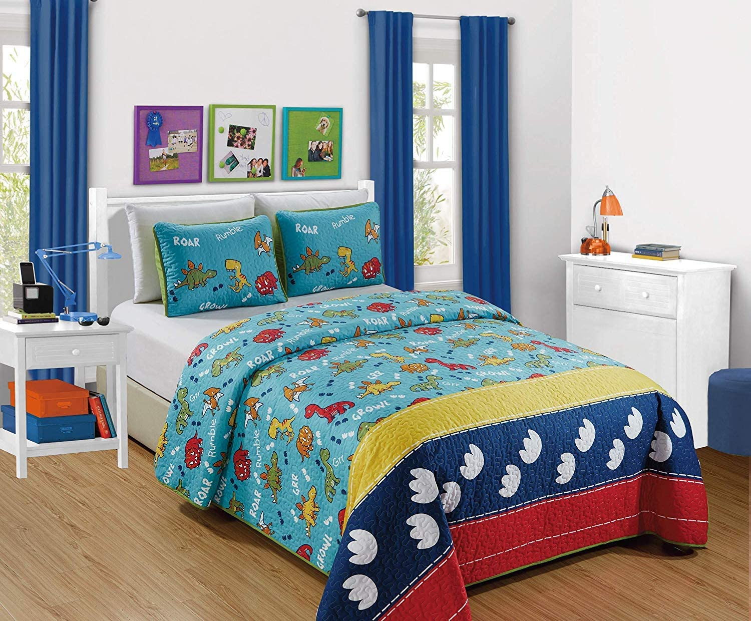 Kids Zone 2pc Twin Size Bedspread Dinosaurs Yellow, Red and Aqua Blue Rar Growl Rumble Voices Foot Print New