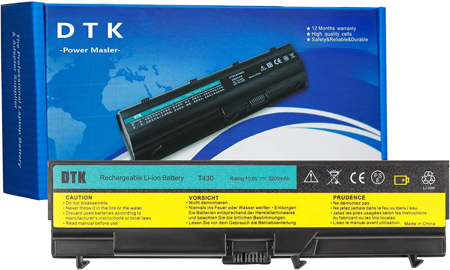 Dtk New Laptop Battery Replacement for Lenovo IBM Thinkpad W530 / W530i / L430 / L530 / T430 / T430i T530 / T530i Serieslaptop Battery (0a36303 70+)