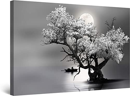 Startonight Canvas Wall Art Decor Flower Tree and Moon Black and White Painting