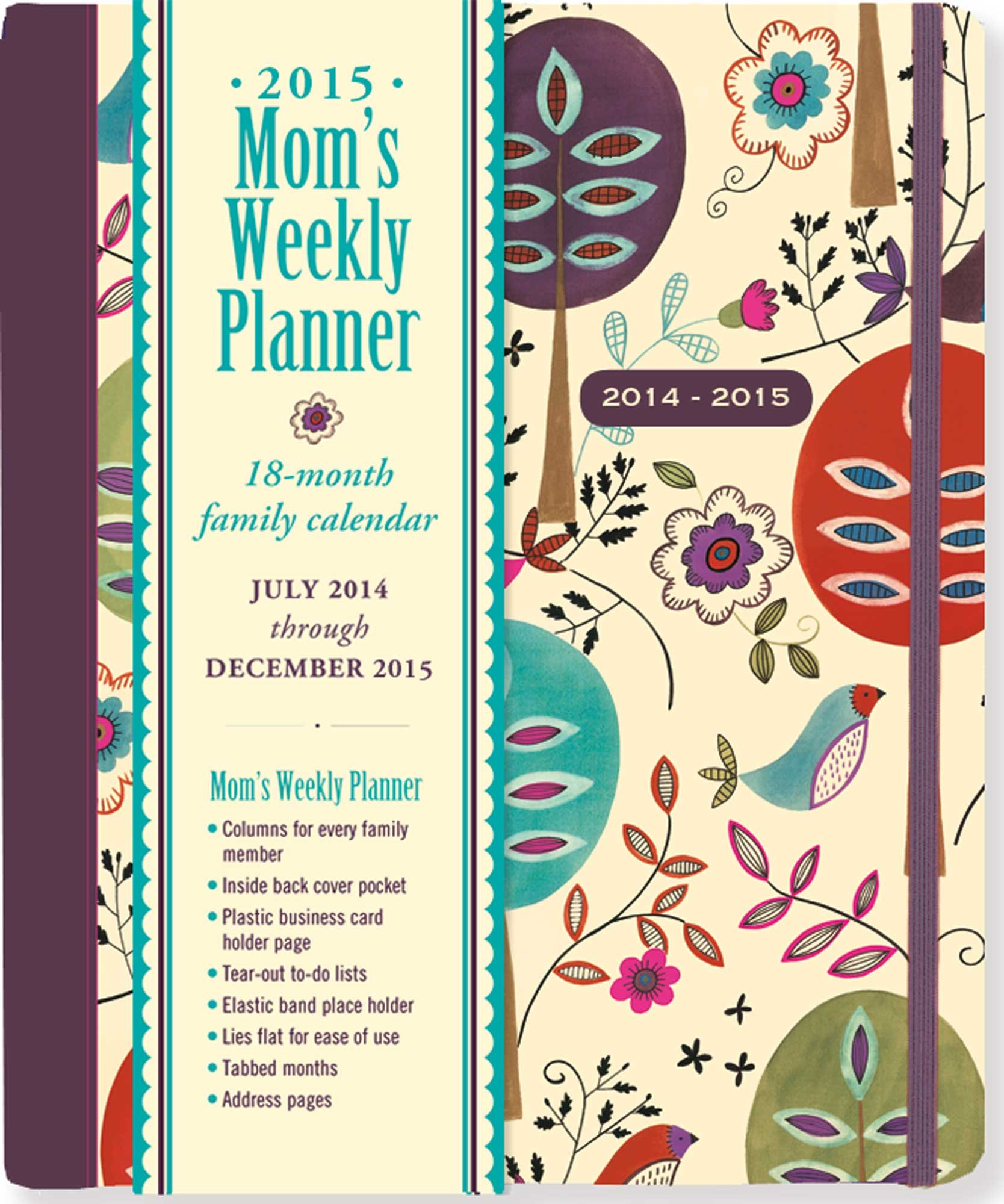 2015 folk art birds moms weekly planner 18 month calendar family calendar diary