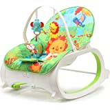 The Flyers Bay Fiddle Diddle Baby Bouncer Cum Rocker With Vibration Function & 2 Toys (Lion Green)