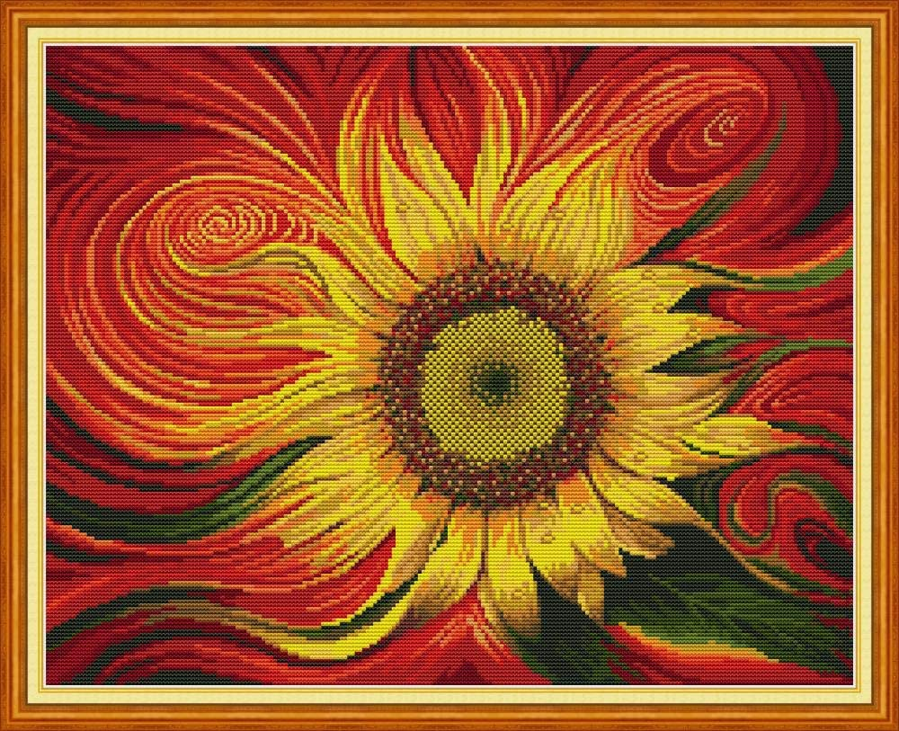 Sunflower 23.6/×19.3 Maydear Cross Stitch Kits Stamped Full Range of Embroidery Starter Kits for Beginners DIY 11CT 3 Strands inch