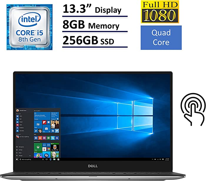 "Dell XPS 13 9360 Laptop - 13.3"" Anti-Glare InfinityEdge TouchScreen FHD (1920x1080), Intel Quad-Core i5-8250U, 256GB NVME PCIe M.2 SSD, 8GB RAM, Backlit Keyboard, Windows 10 - Silver"