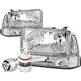 Ford Super Duty / Excusion 4Pc Chrome Housing Clear Corner Headlight + Bumper Lamp + 9007 LED Conversion Kit W/ Fan