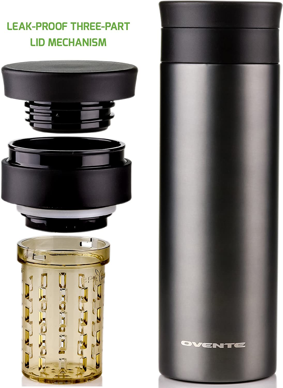 OVENTE Travel Tea Infuser, Vacuum Insulated & Double-Walled Coffee Mug, Spill-Proof, BPA-Free, 16oz, Gun Metal (MSA16G), 16 oz