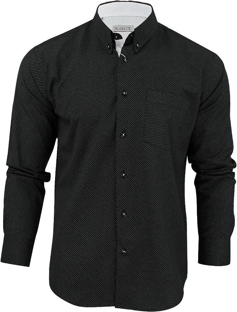 Xact Clothing - Camisa Casual - Lunares - Manga Larga - para Hombre Negro XXXXL: Amazon.es: Ropa y accesorios