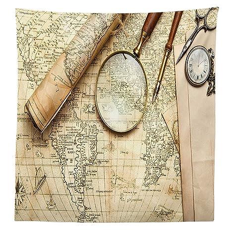 Wanderlust Decor tovaglia con mappa del mondo vintage Old retro ...